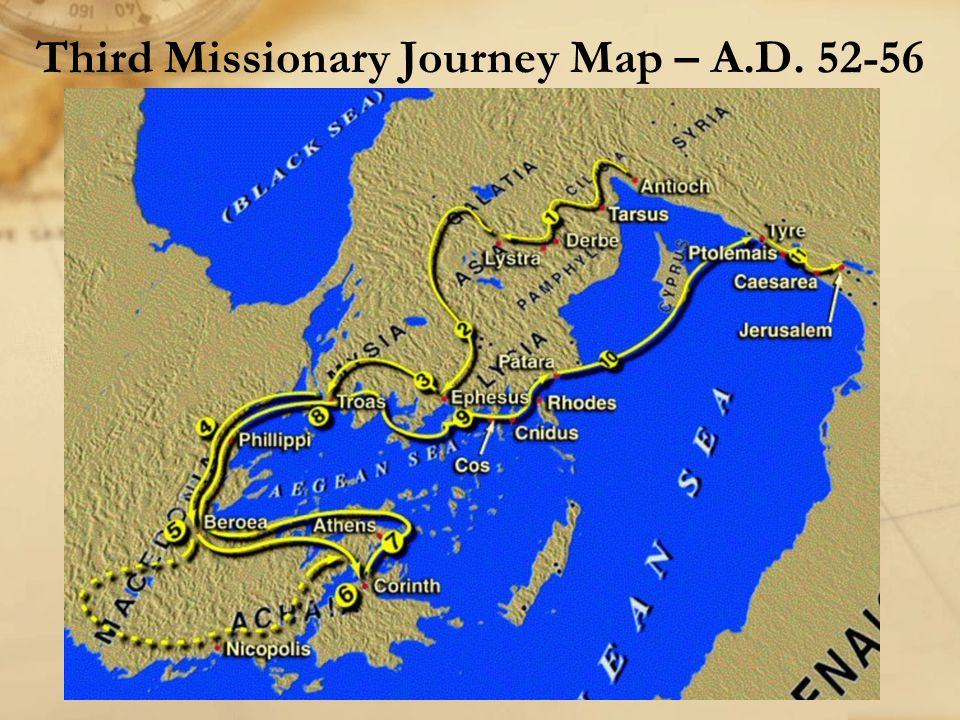 Third Missionary Journey Map – A.D. 52-56