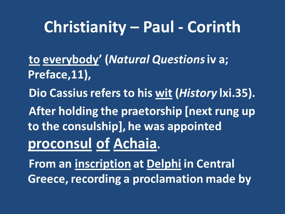 Christianity – Paul - Corinth