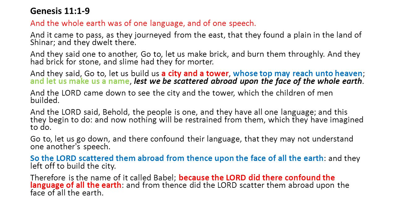 Genesis 11:1-9 And the whole earth was of one language, and of one speech.