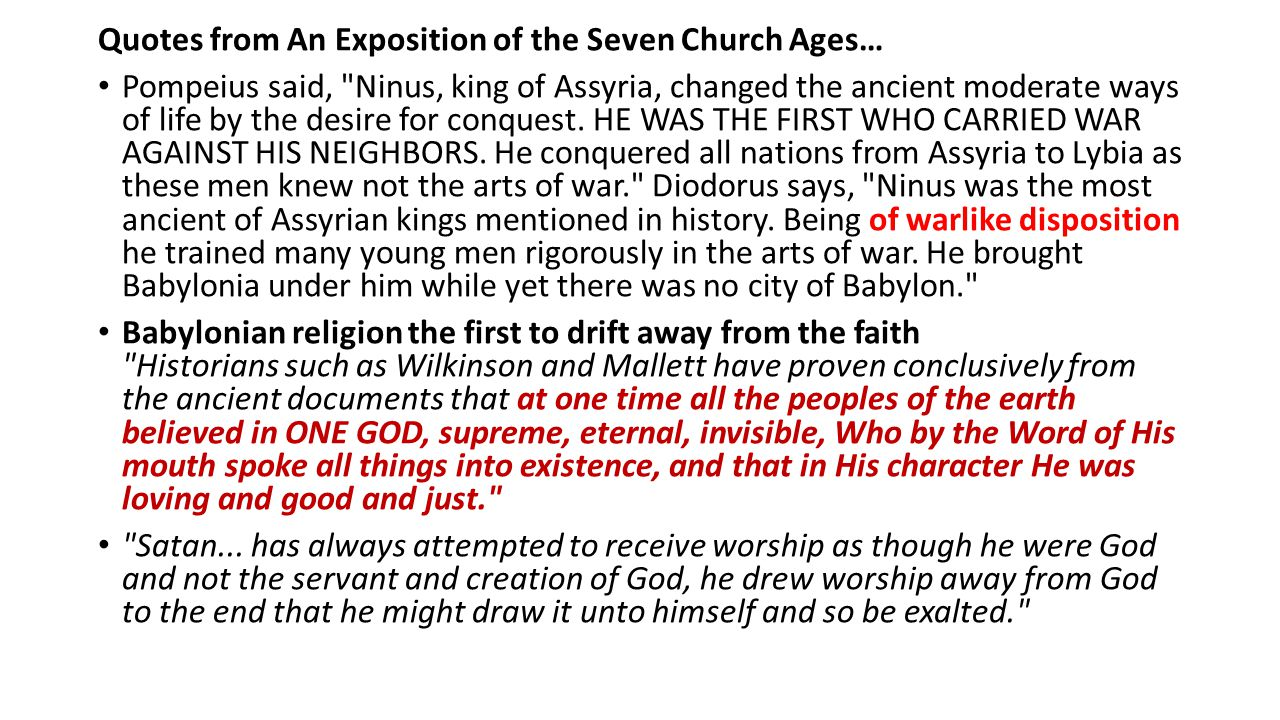 Quotes from An Exposition of the Seven Church Ages…