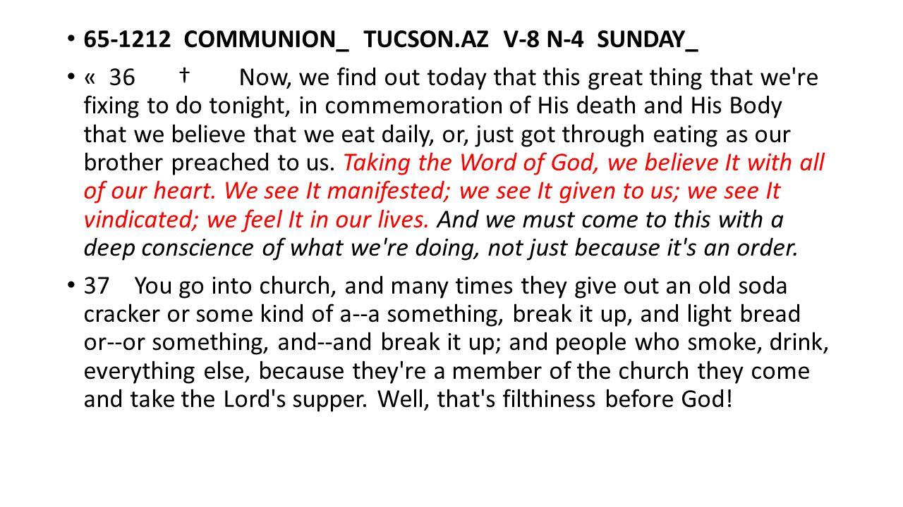 65-1212 COMMUNION_ TUCSON.AZ V-8 N-4 SUNDAY_