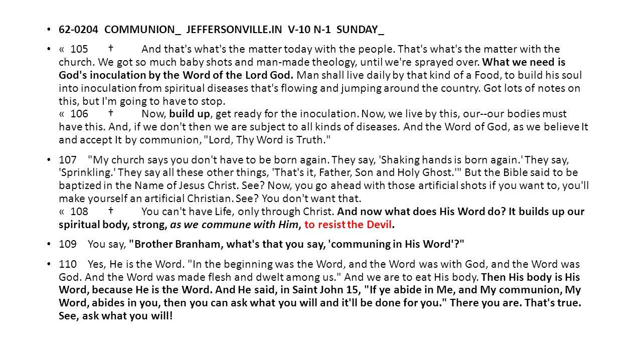62-0204 COMMUNION_ JEFFERSONVILLE.IN V-10 N-1 SUNDAY_