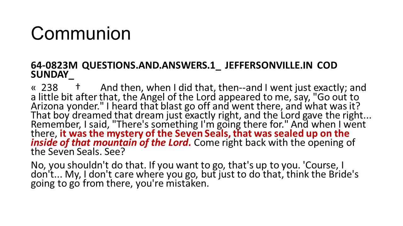 Communion 64-0823M QUESTIONS.AND.ANSWERS.1_ JEFFERSONVILLE.IN COD SUNDAY_.