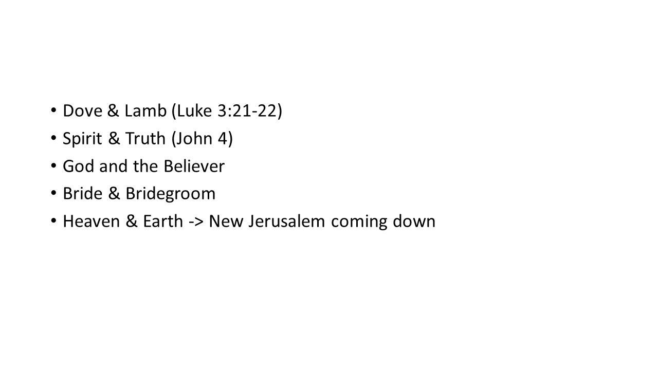 Dove & Lamb (Luke 3:21-22) Spirit & Truth (John 4) God and the Believer.
