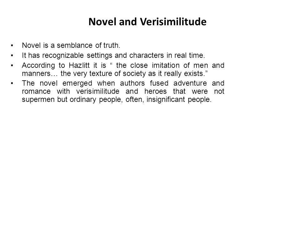 Novel and Verisimilitude