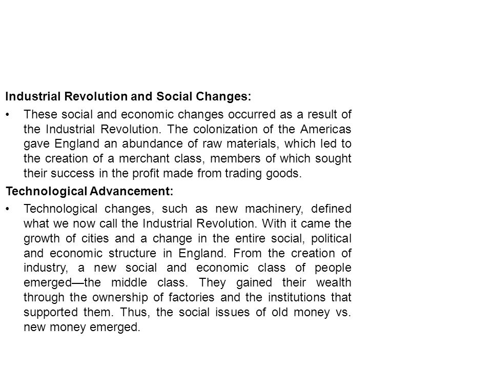 Industrial Revolution and Social Changes: