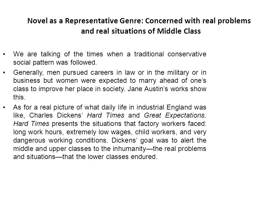 Novel as a Representative Genre: Concerned with real problems and real situations of Middle Class