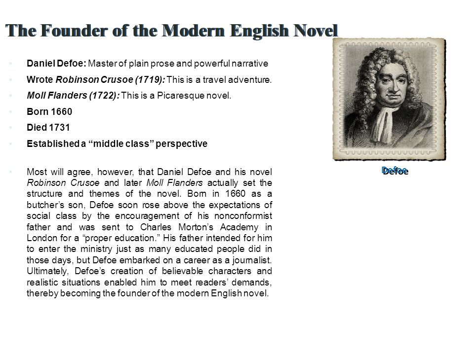 The Founder of the Modern English Novel