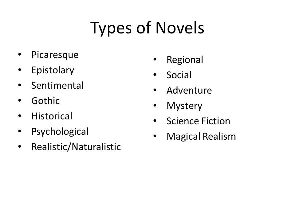 Types of Novels Picaresque Regional Epistolary Social Sentimental