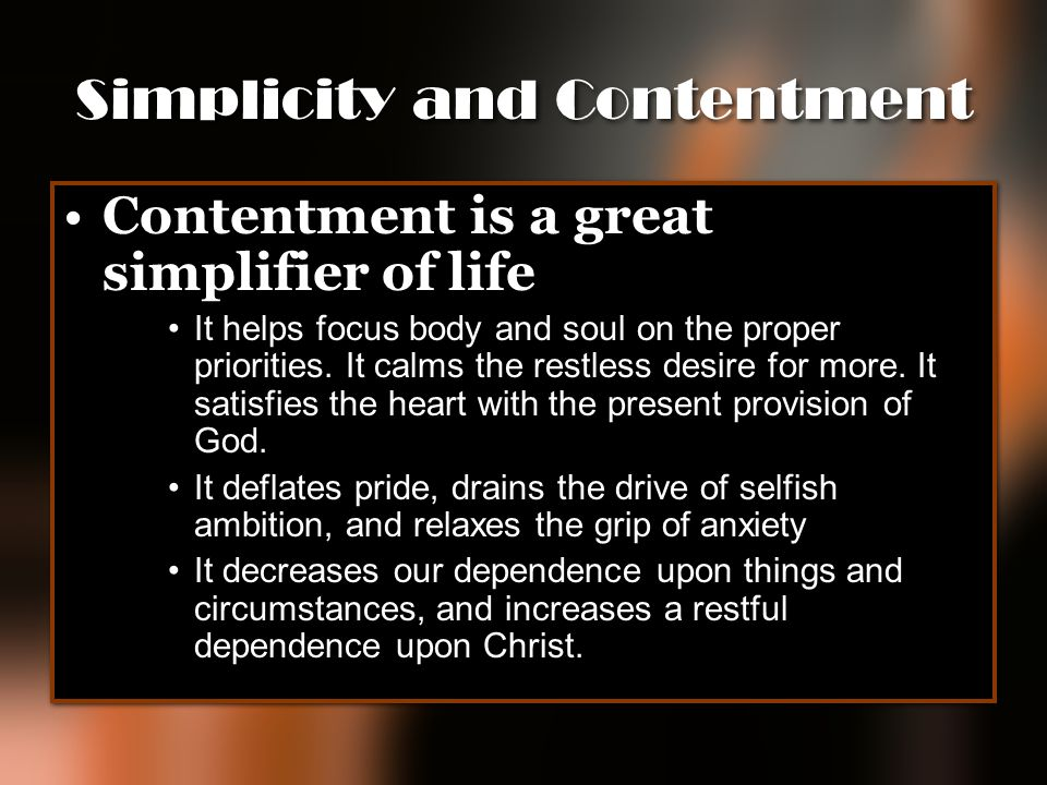 Simplicity and Contentment
