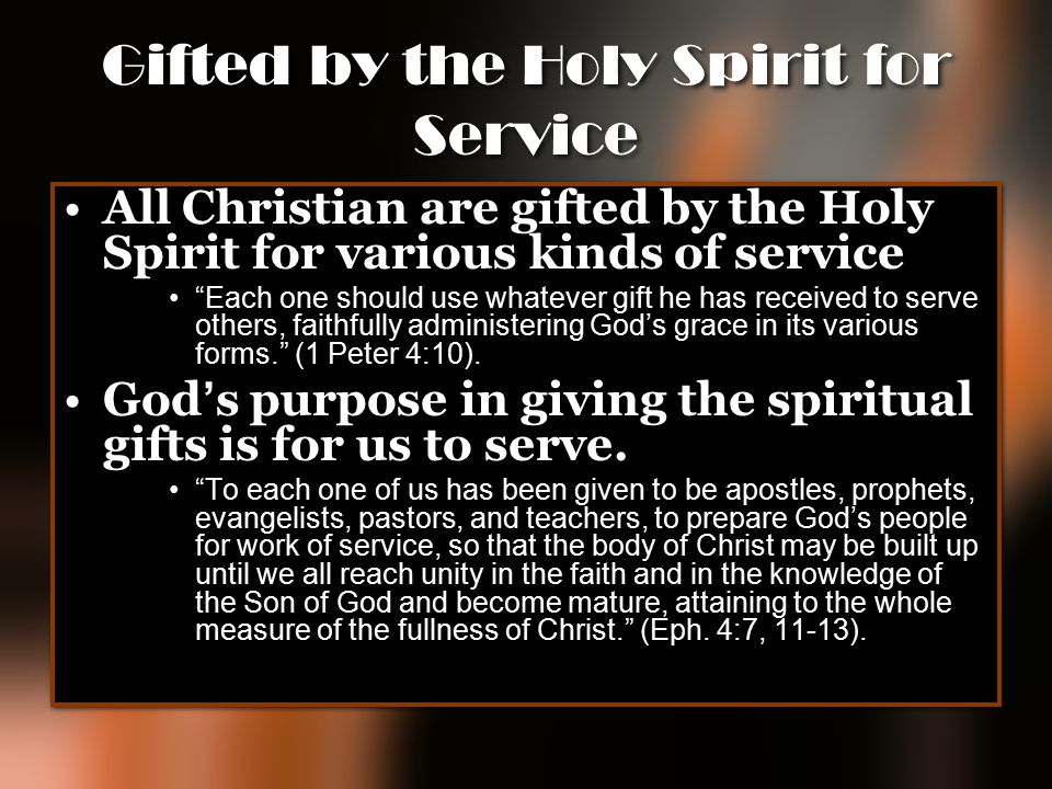Gifted by the Holy Spirit for Service