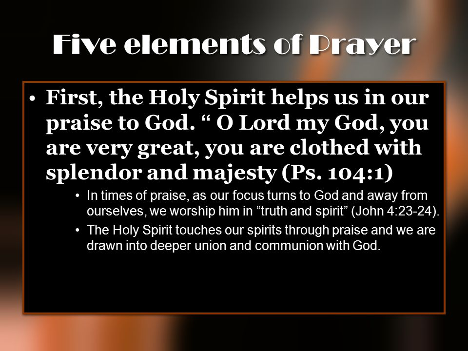 Five elements of Prayer
