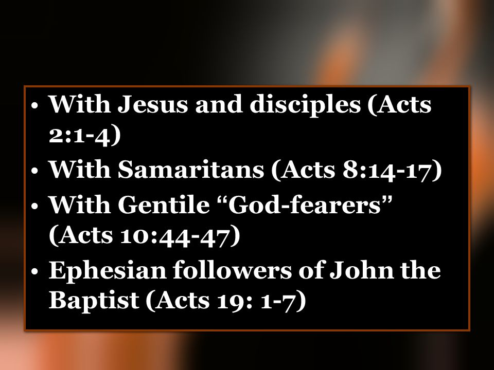 With Jesus and disciples (Acts 2:1-4)