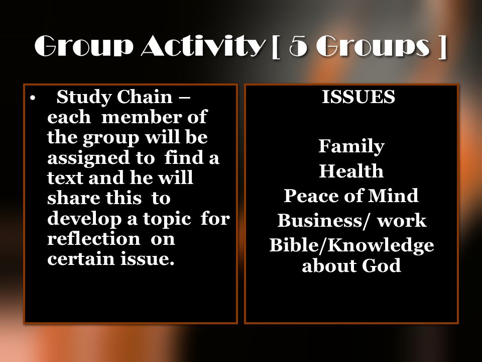 Group Activity [ 5 Groups ]