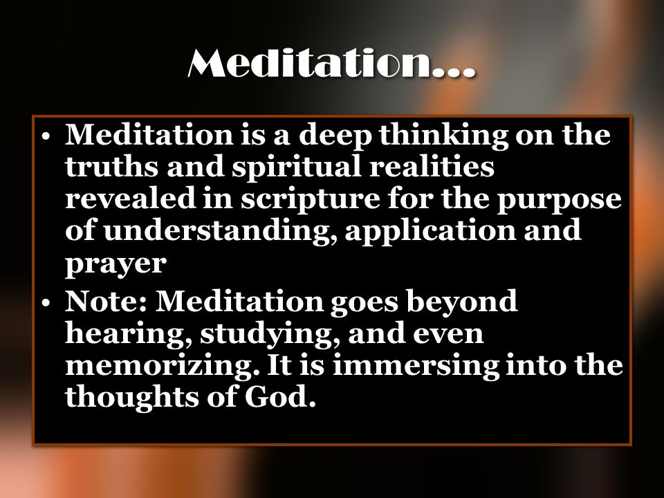 Meditation…