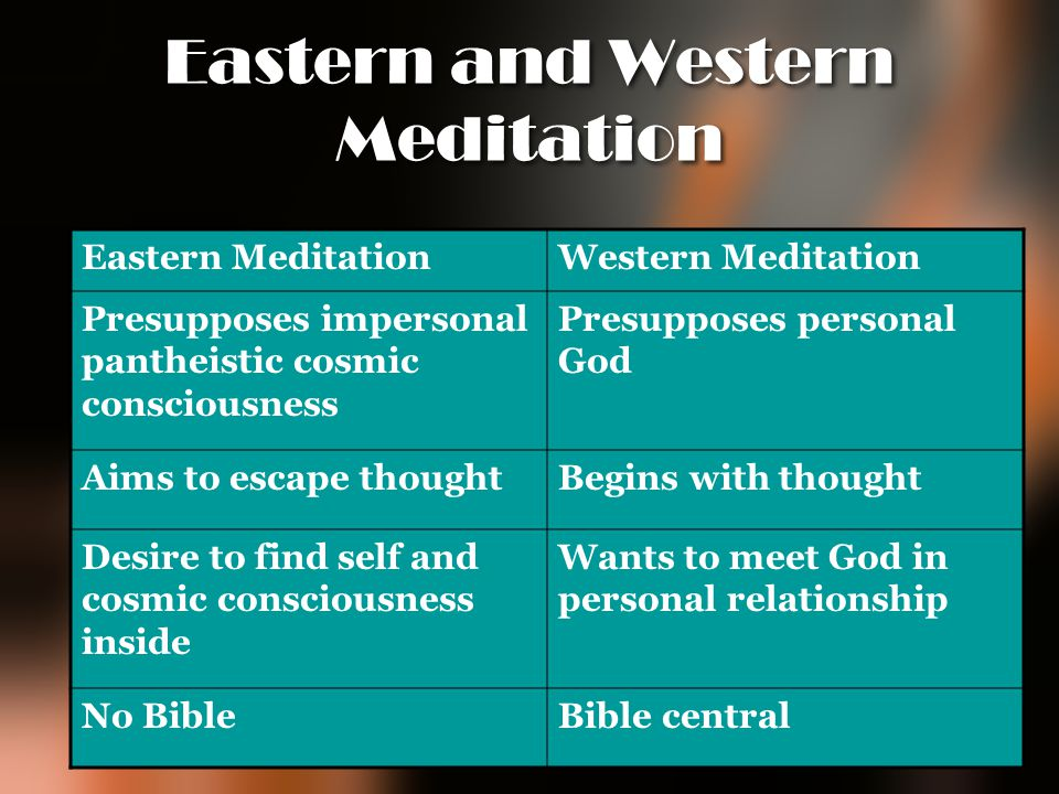 Eastern and Western Meditation