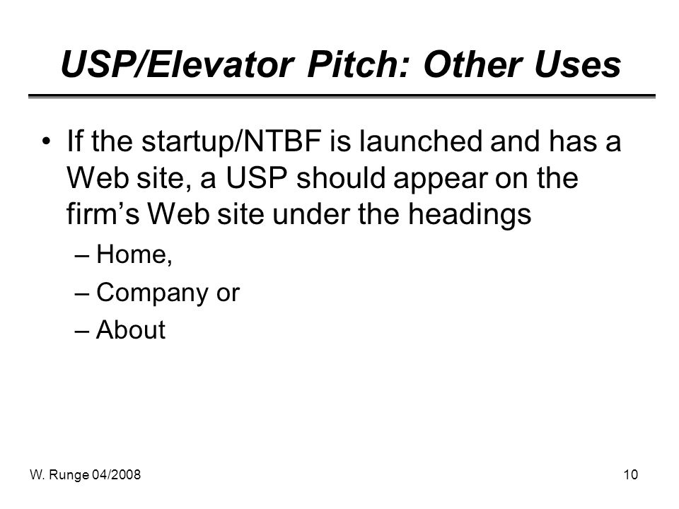 USP/Elevator Pitch: Other Uses