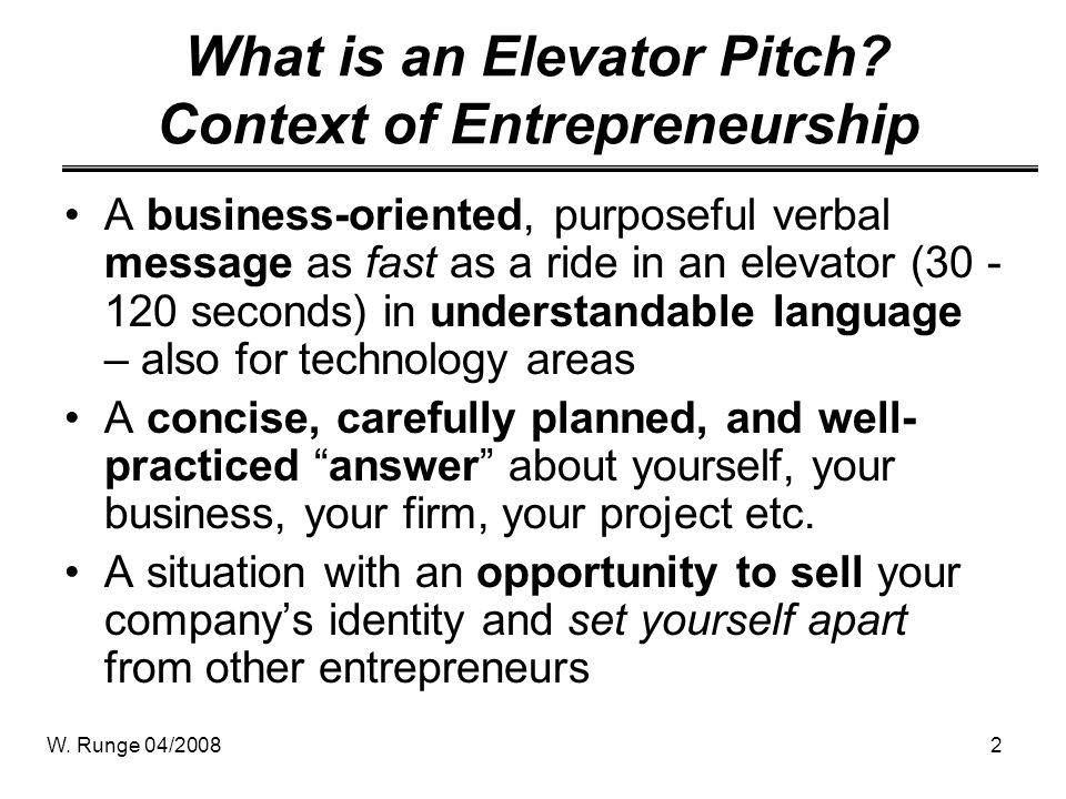 What is an Elevator Pitch Context of Entrepreneurship
