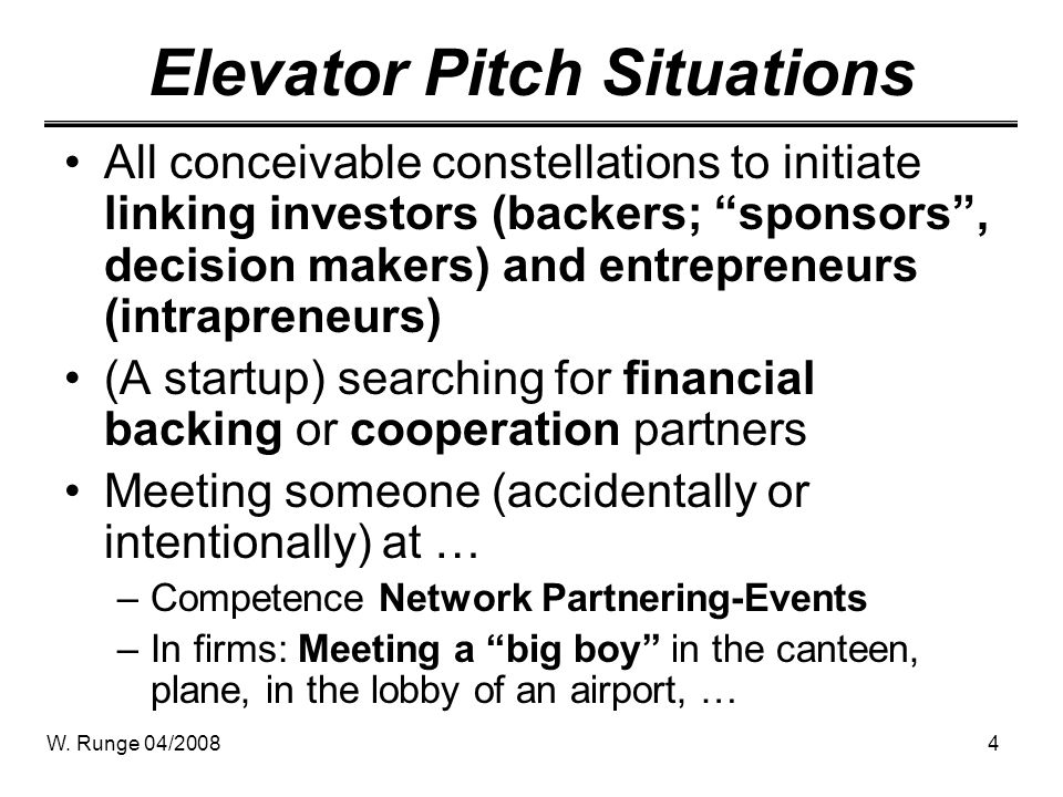 Elevator Pitch Situations