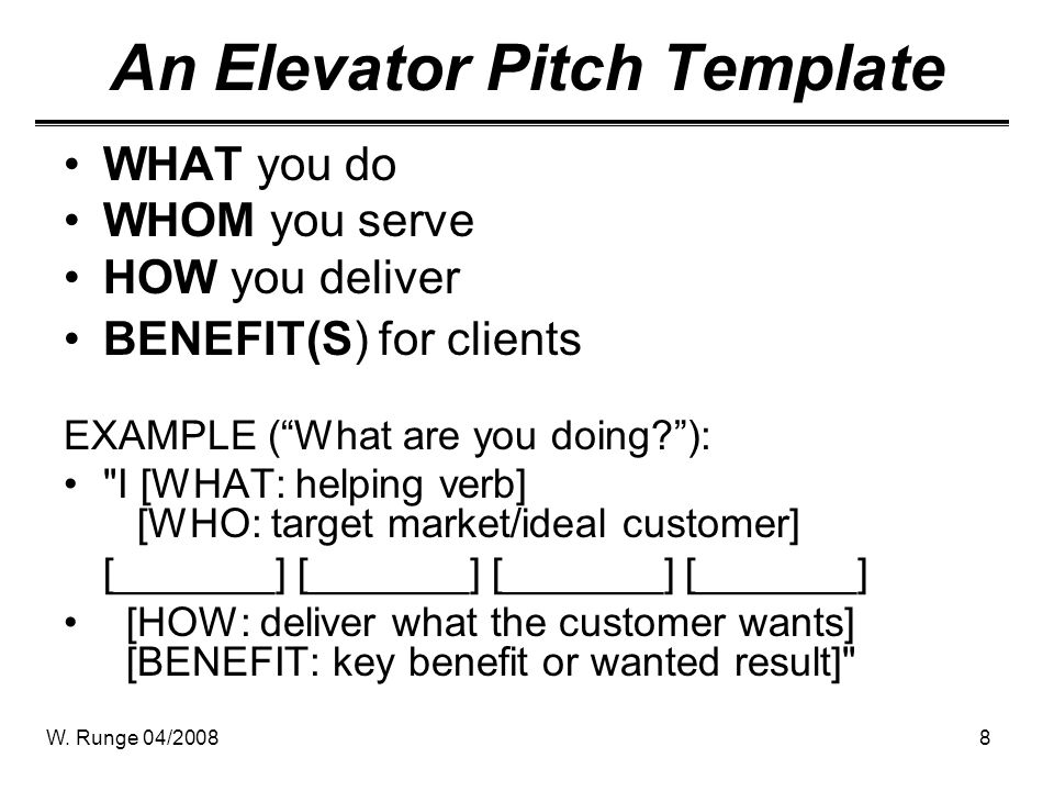 The Elevator Pitch Pitching In    Seconds  Ppt Video Online