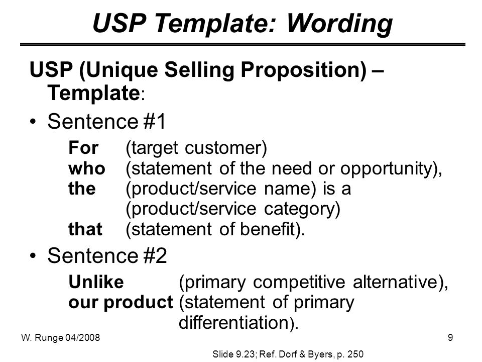 USP Template: Wording USP (Unique Selling Proposition) – Template: