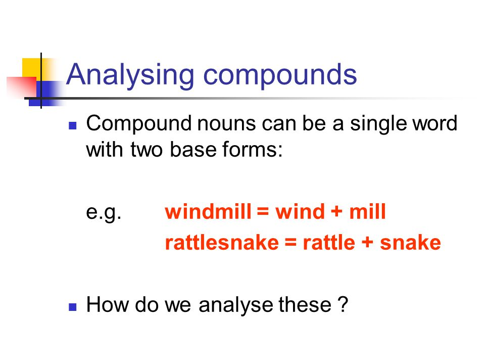 Analysing compounds Compound nouns can be a single word with two base forms: e.g. windmill = wind + mill.