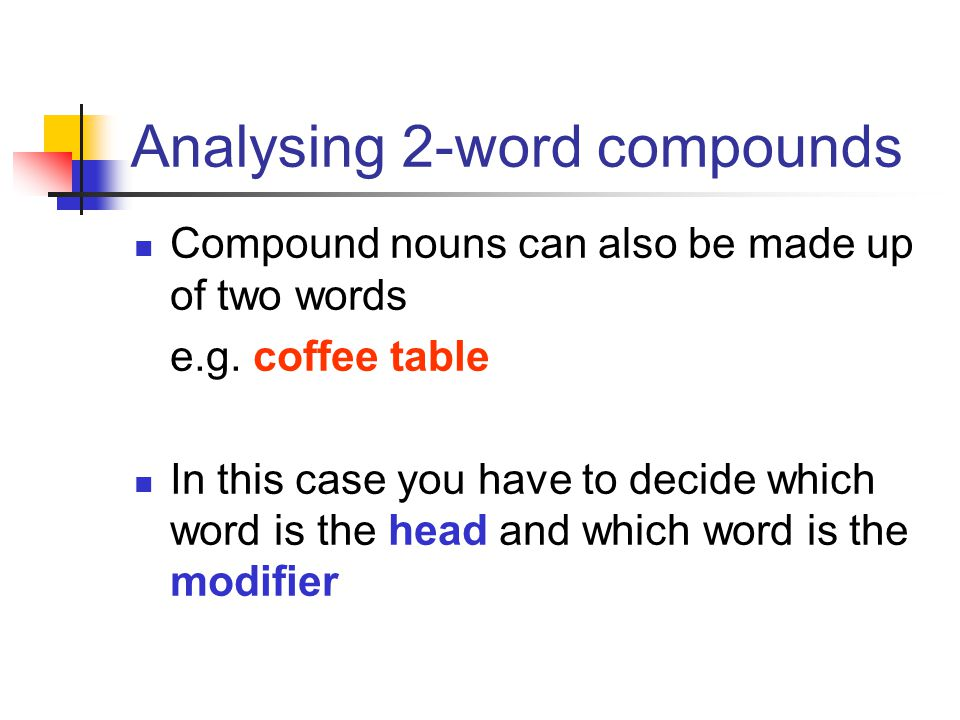 Analysing 2-word compounds
