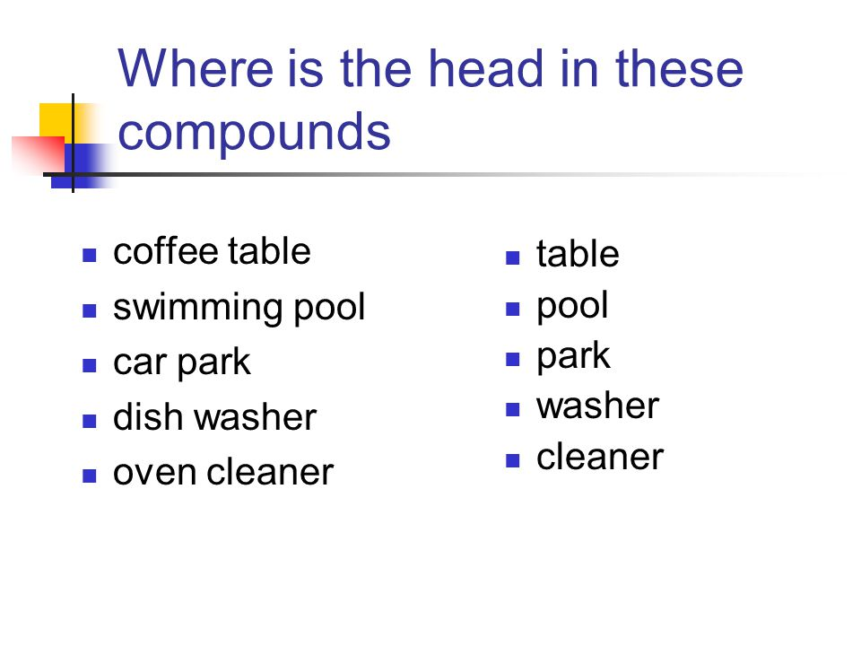 Where is the head in these compounds