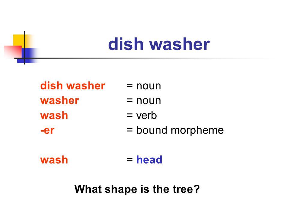 dish washer dish washer = noun washer = noun wash = verb