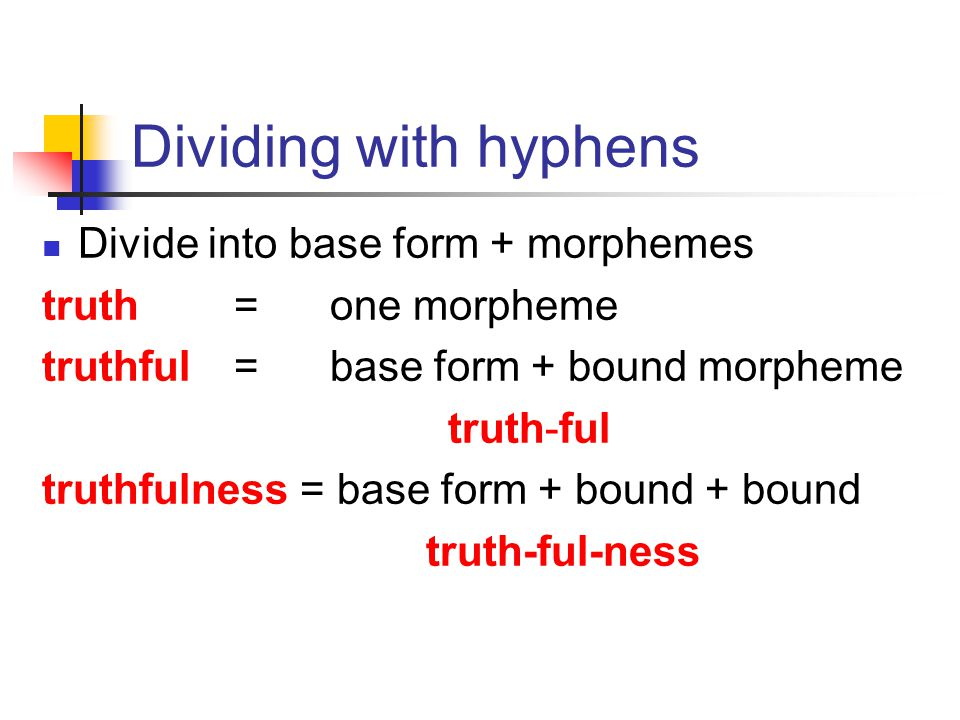 Dividing with hyphens Divide into base form + morphemes