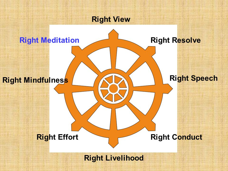 Right View Right Meditation. Right Resolve. Right Speech. Right Mindfulness. Right Effort. Right Conduct.
