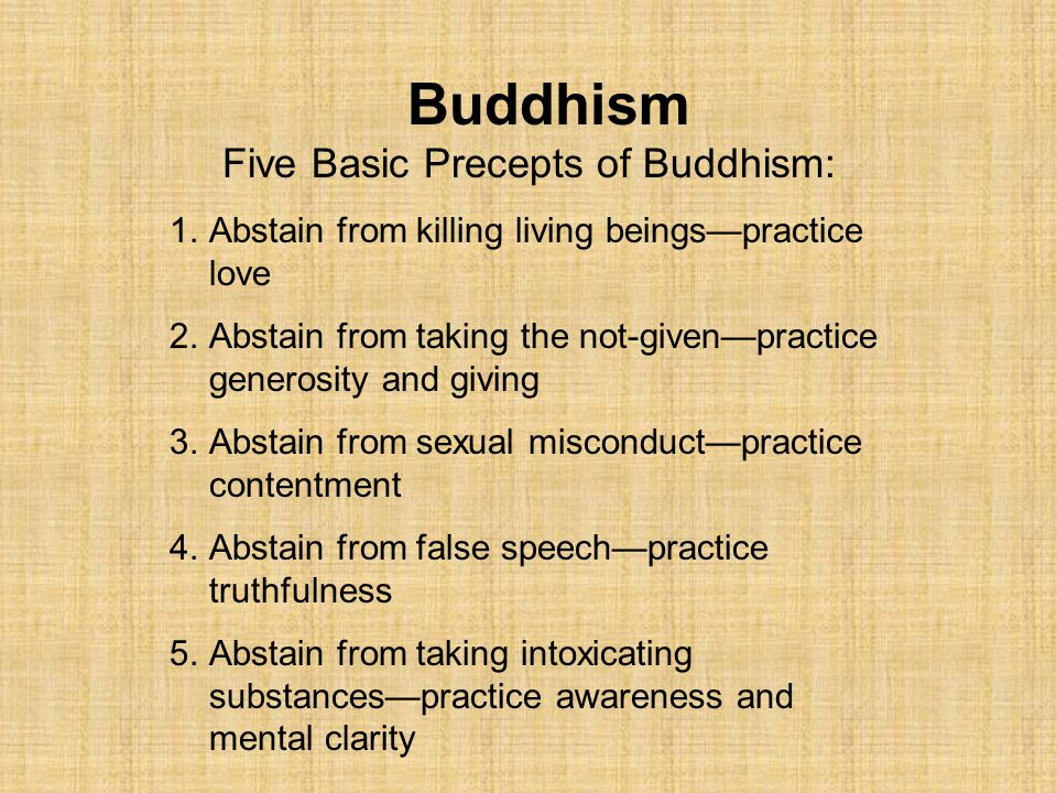 Five Basic Precepts of Buddhism: