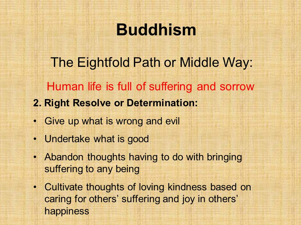 Buddhism The Eightfold Path or Middle Way: