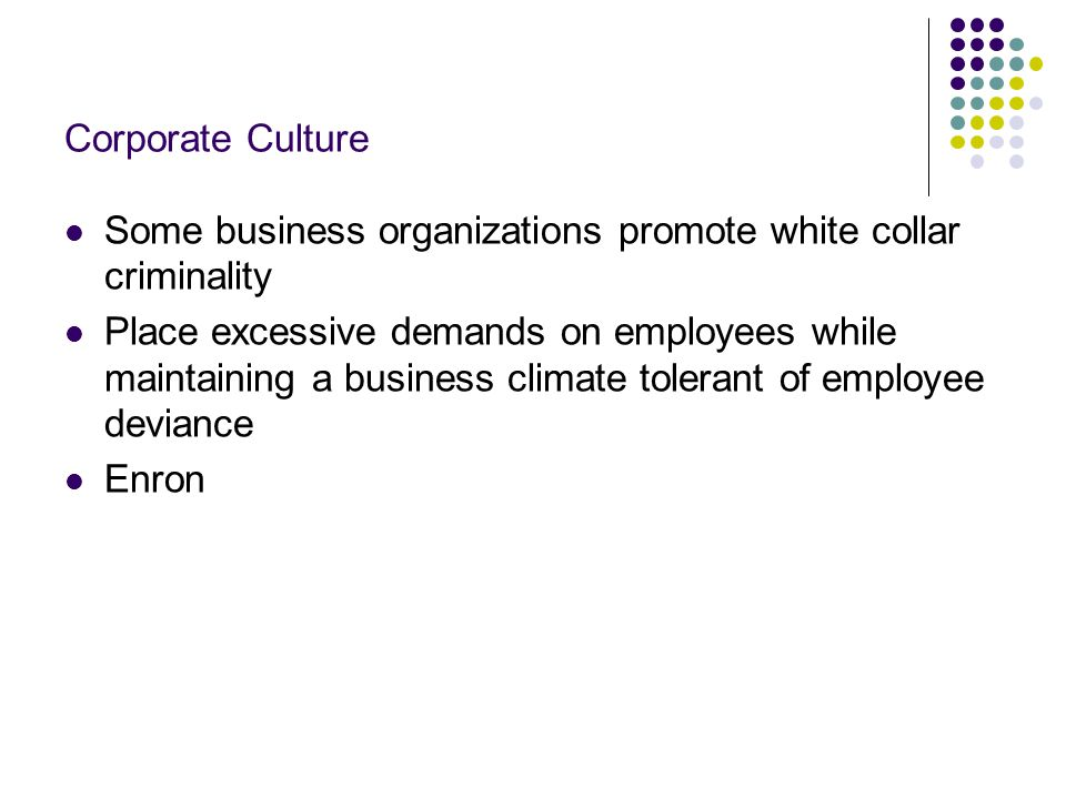 Corporate Culture Some business organizations promote white collar criminality.