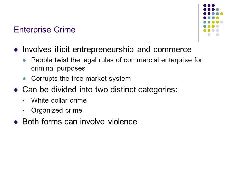 Involves illicit entrepreneurship and commerce