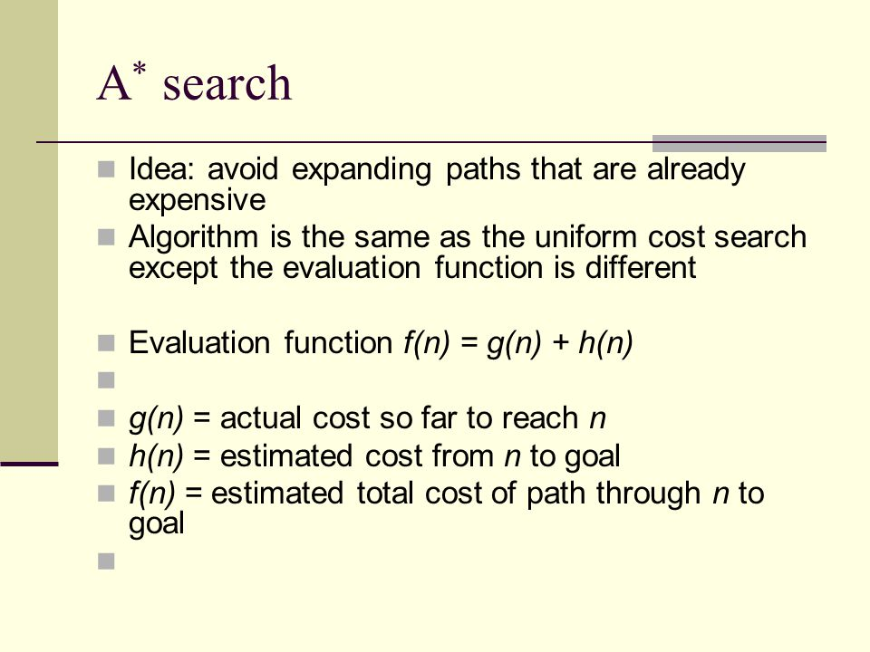 A* search Algorithm is the same as the uniform cost search except the evaluation function is different.