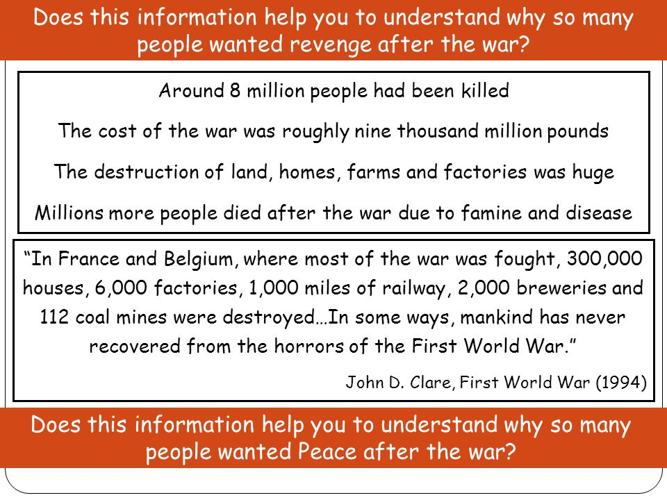 Does this information help you to understand why so many people wanted revenge after the war