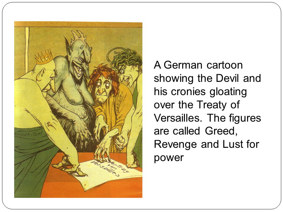 A German cartoon showing the Devil and his cronies gloating over the Treaty of Versailles.