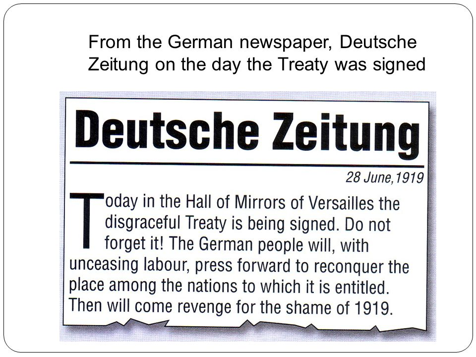 From the German newspaper, Deutsche Zeitung on the day the Treaty was signed