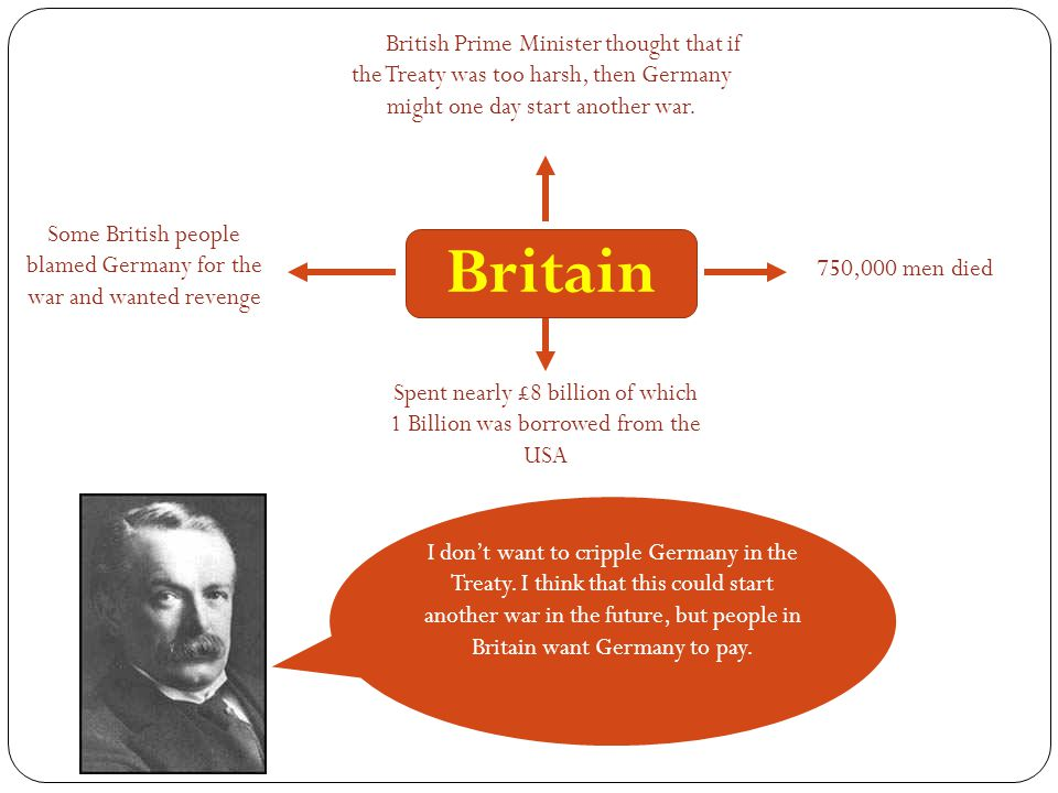 The British Prime Minister thought that if the Treaty was too harsh, then Germany might one day start another war.