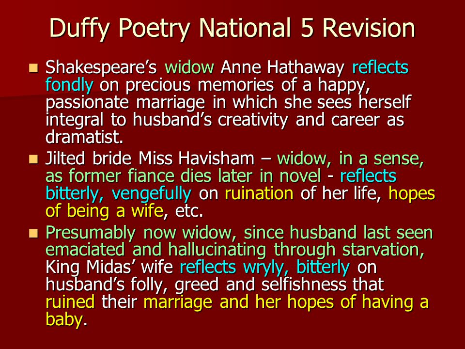 Duffy Poetry National 5 Revision