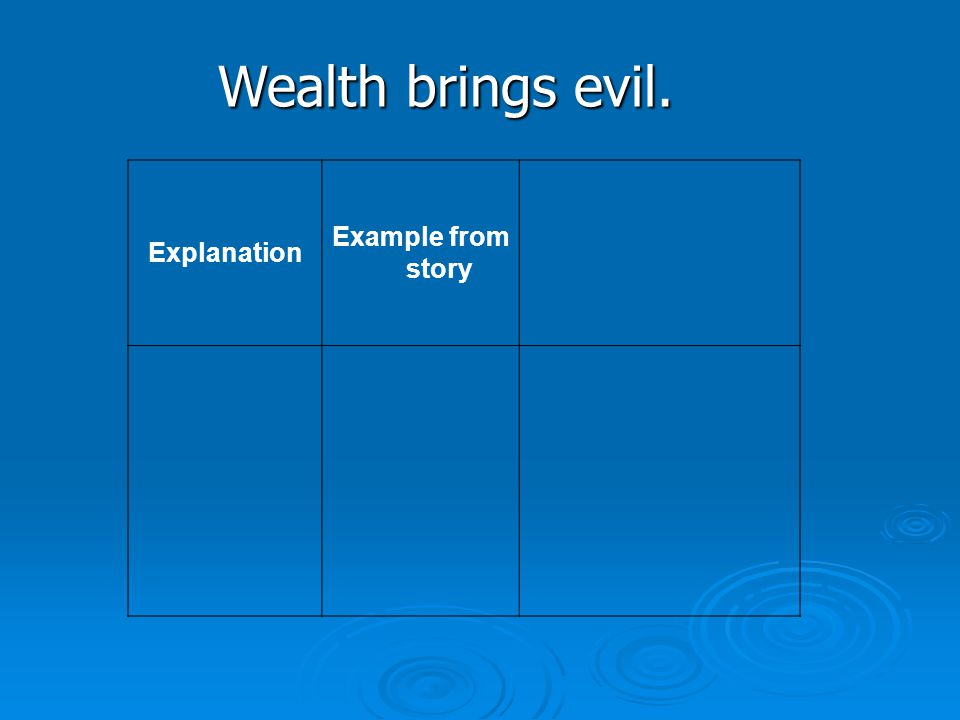 Wealth brings evil. Explanation Example from story
