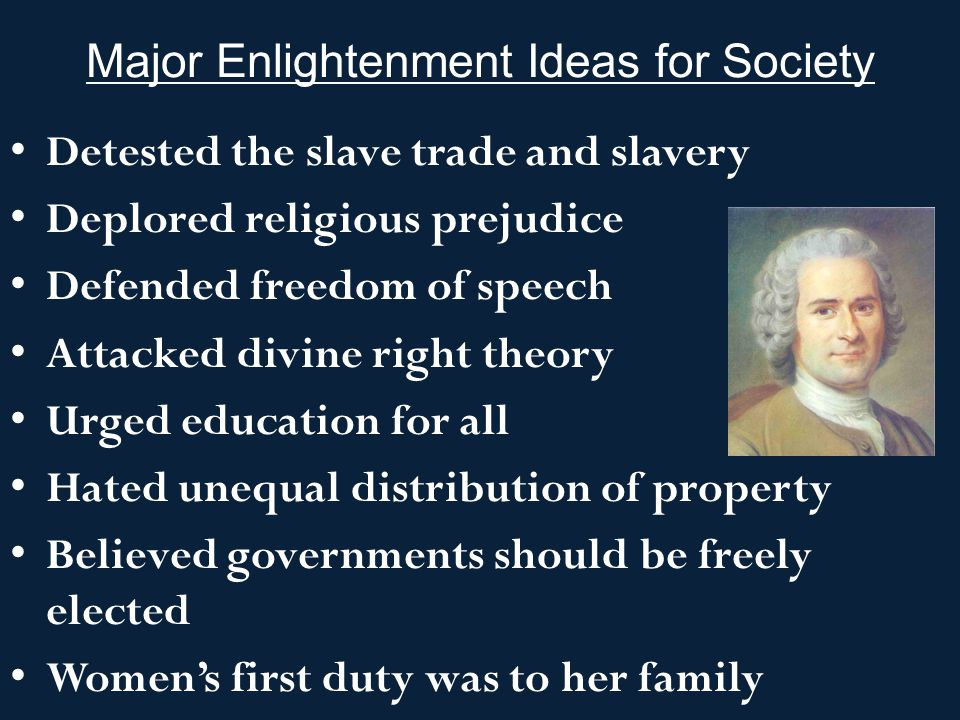 Major Enlightenment Ideas for Society