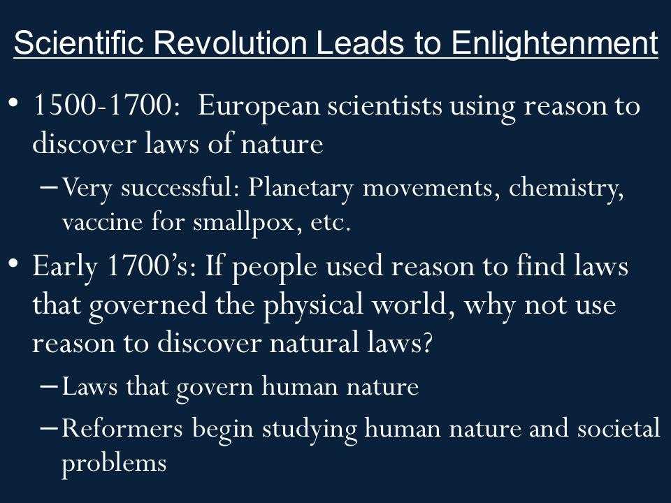 Scientific Revolution Leads to Enlightenment