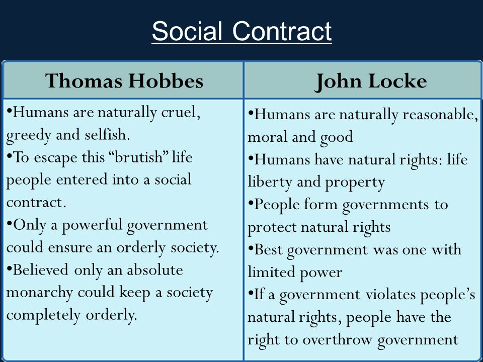 Social Contract Thomas Hobbes John Locke