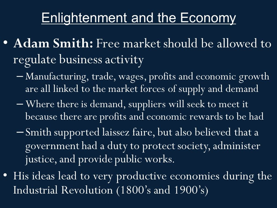 Enlightenment and the Economy