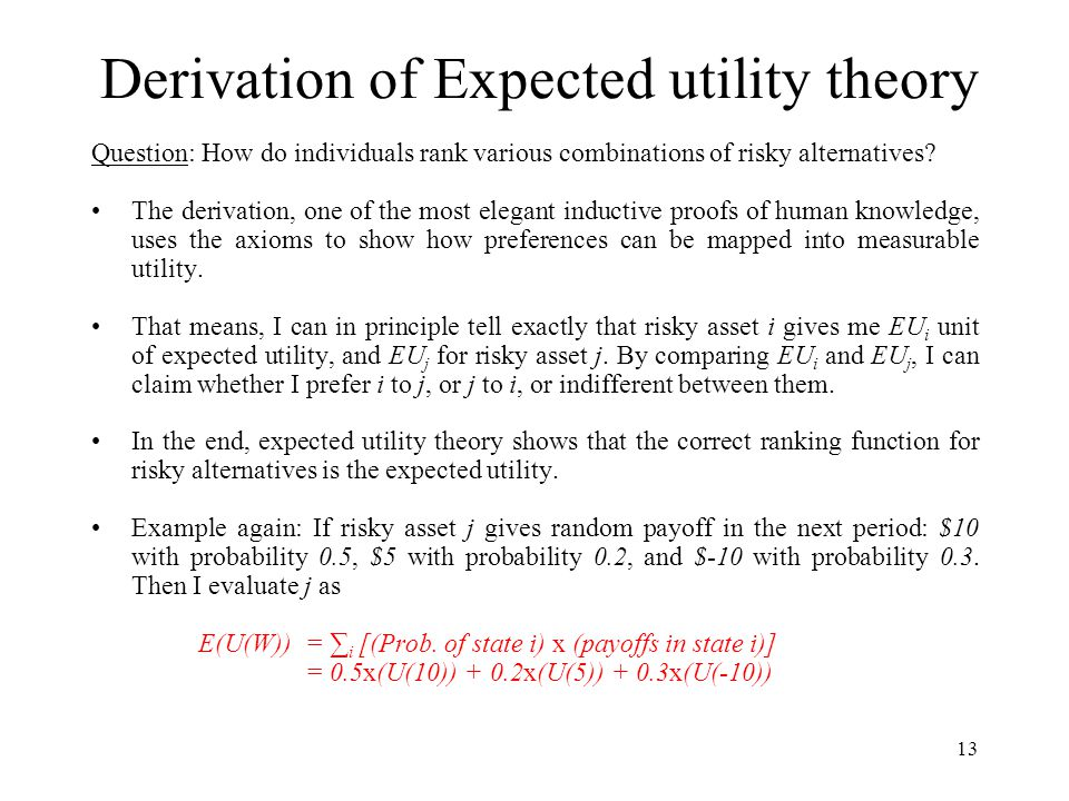 Derivation of Expected utility theory