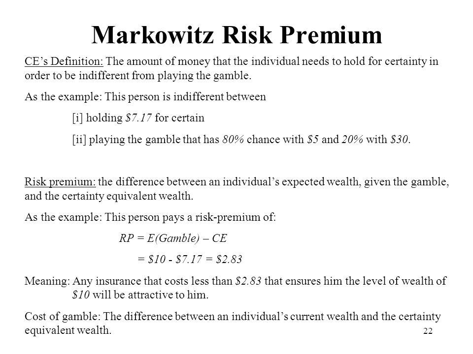 Markowitz Risk Premium