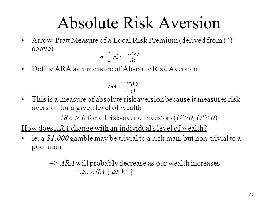Absolute Risk Aversion