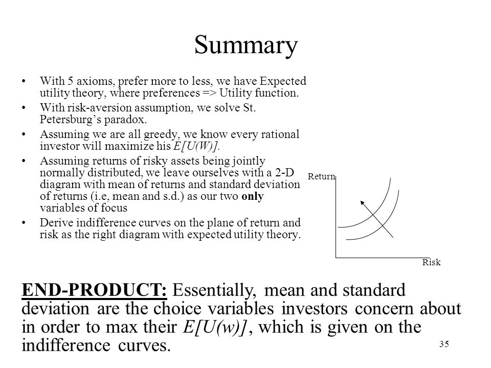 Summary With 5 axioms, prefer more to less, we have Expected utility theory, where preferences => Utility function.
